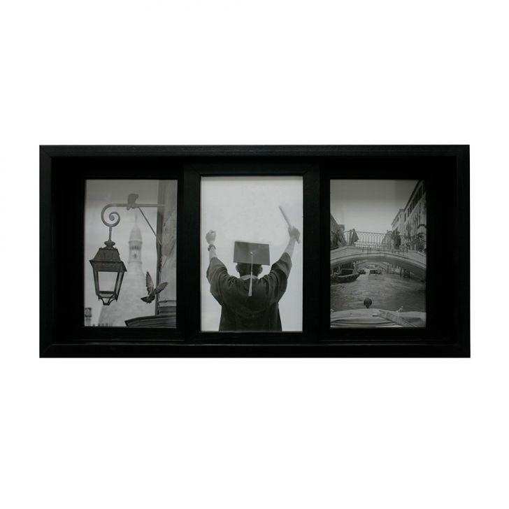 Porta-retrato Para 3 Fotos Pisa Preto