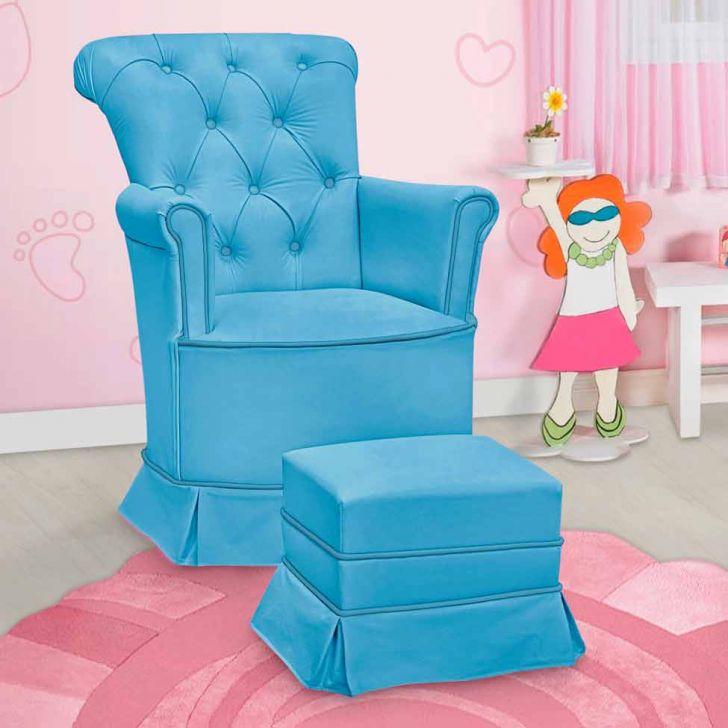 Poltrona Amamentação Paola Com Balanço E Puff Corino Azul