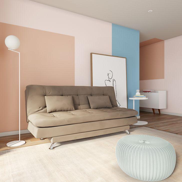 Sofá-cama 3 Lugares Casal Superior Suede Marrom