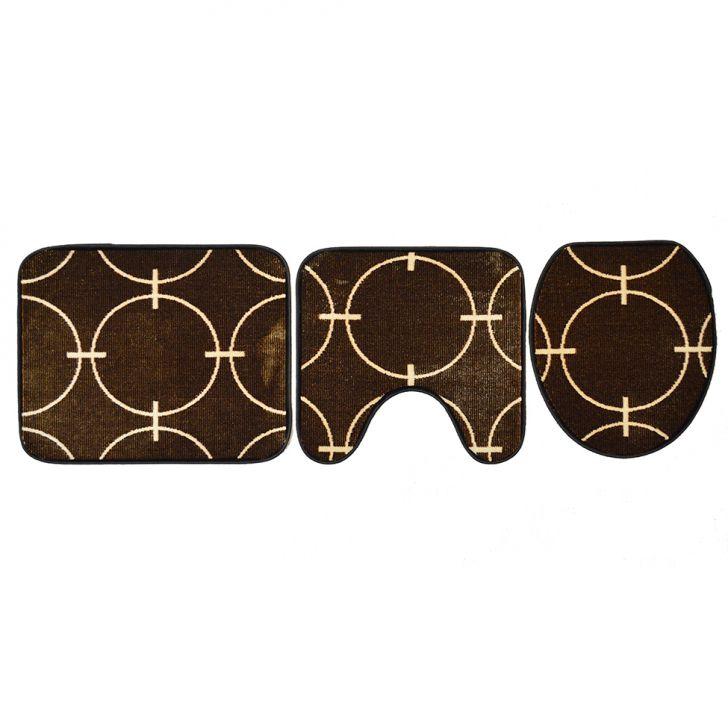 Conjunto Com 3 Tapetes Para Banheiro Royal Luxury Epernay Marrom E Creme