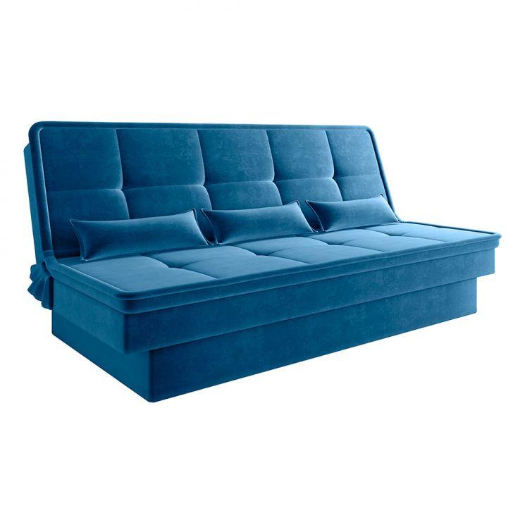 Sofá-cama Casal 3 Lugares Texas Suede Azul