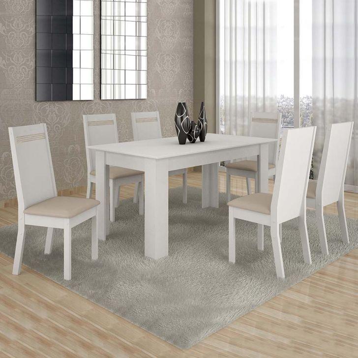 Conjunto de Mesa Ouro Preto 160 cm com 6 Cadeiras Couro Branco e Areia Cod: