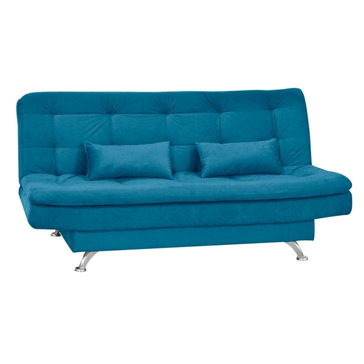 Sofá-cama 2 Lugares Salomé Suede Amassado Azul