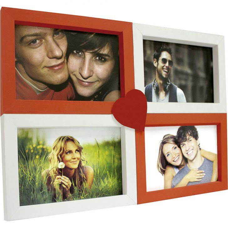 Painel Love Para Parede 4 Fotos Branco Com Vermelho 61072
