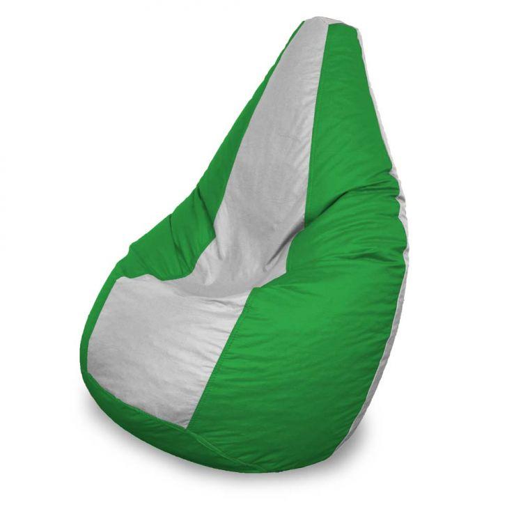 Puff Perão Em Courino Verde E Branco