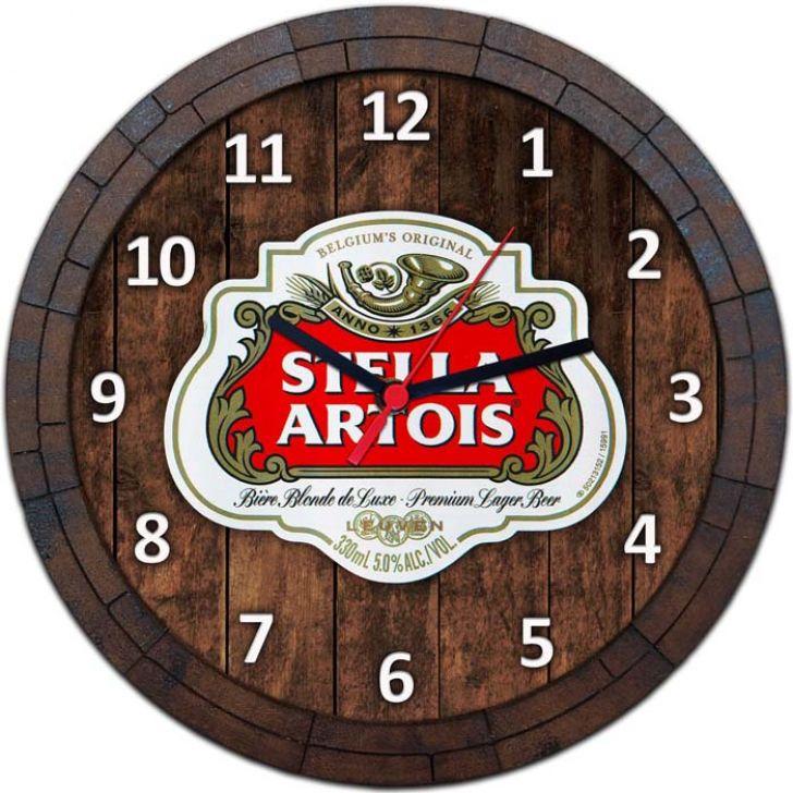 Relógio De Parede Quadro Tampa De Barril Tema Cervejas Vodka Bebidas W-026