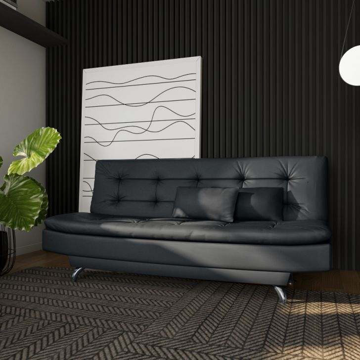 Sofá-cama 3 Lugares Casal Premium Valuable Couro Sintético Preto