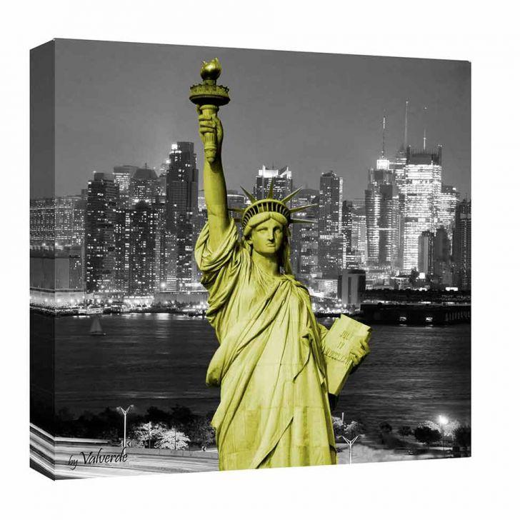 Quadro Impressão Digital Nova York Liberdade Verde 30x30cm Uniart