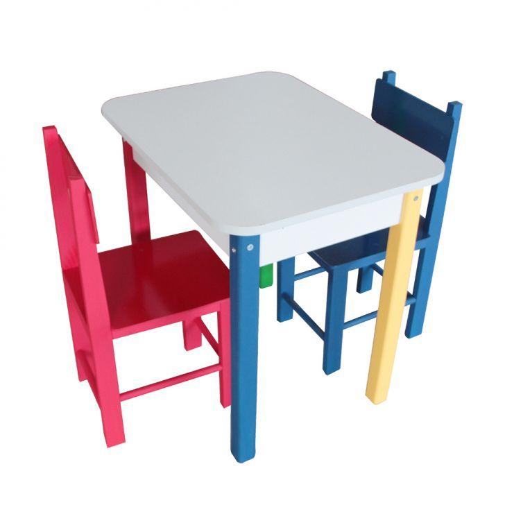 Conjunto De Mesa Retangular Com 2 Cadeiras Jah Colorido