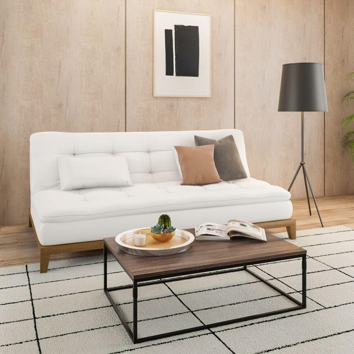 Sofá-cama 3 Lugares Casal Excelencia Base E Pés De Madeira Couro Sintético Branco