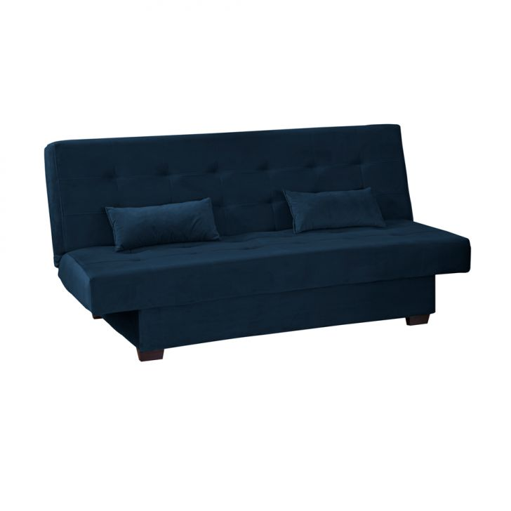 Sofá-cama Casal 3 Lugares Laila Veludo Azul