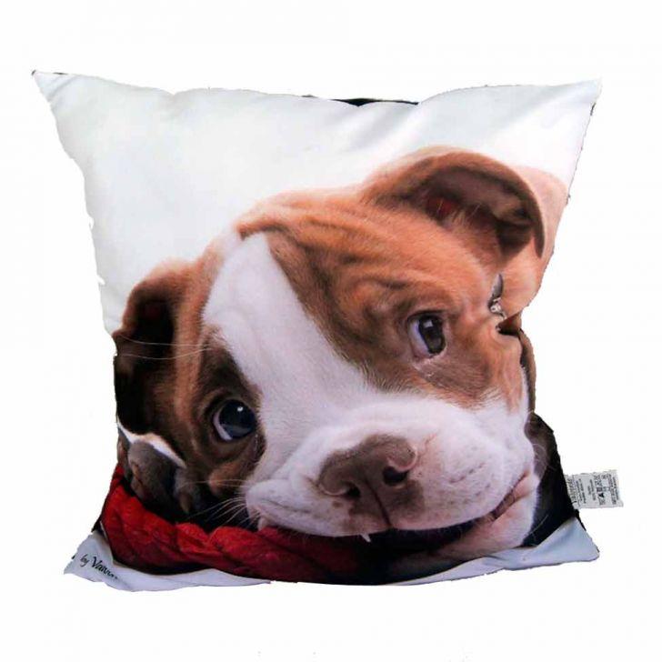 Almofada Impressão Digital Cachorro Marrom E Branco 42x42cm Uniart