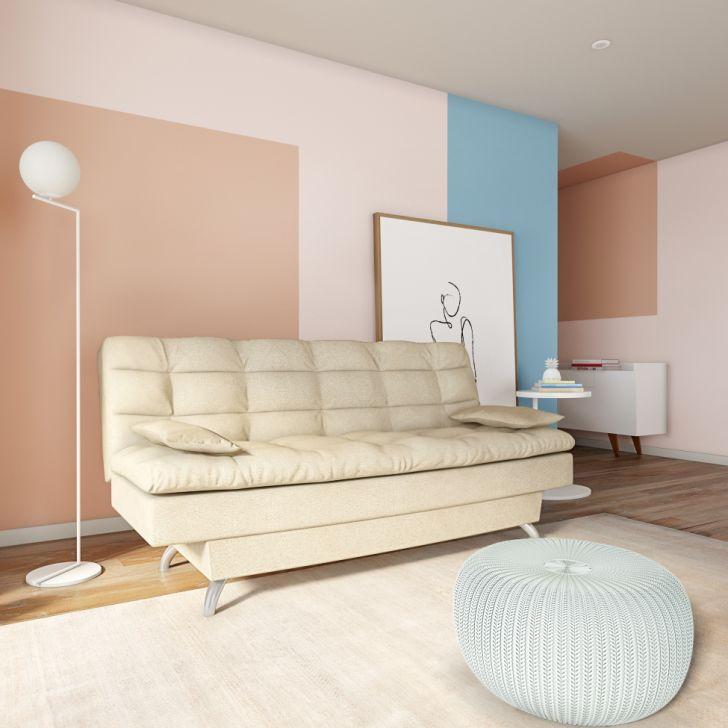 Sofá-cama 3 Lugares Casal Superior Suede Velvet Bege