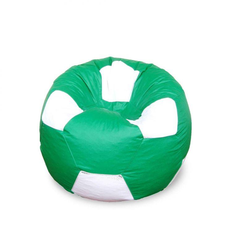 Puff Bola Super Em Corino Verde & Branco