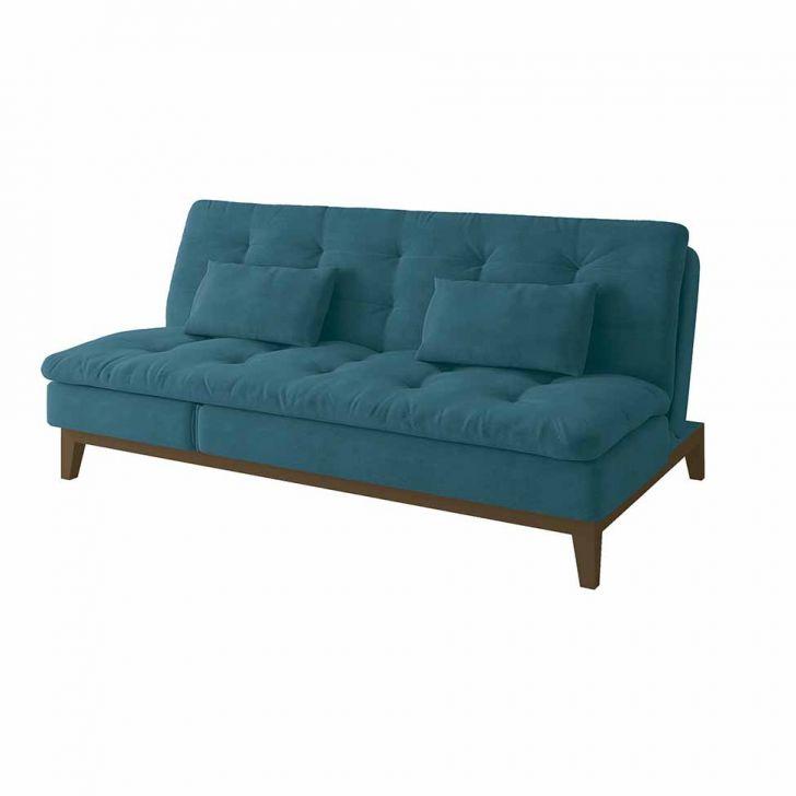 Sofá-cama 3 Lugares Casal Amanda Com Pés De Madeira Suede Azul