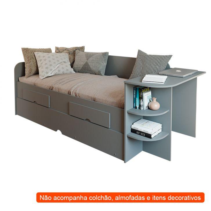Sofá-cama Com Cama Auxiliar Helena 2 Gv Cinza