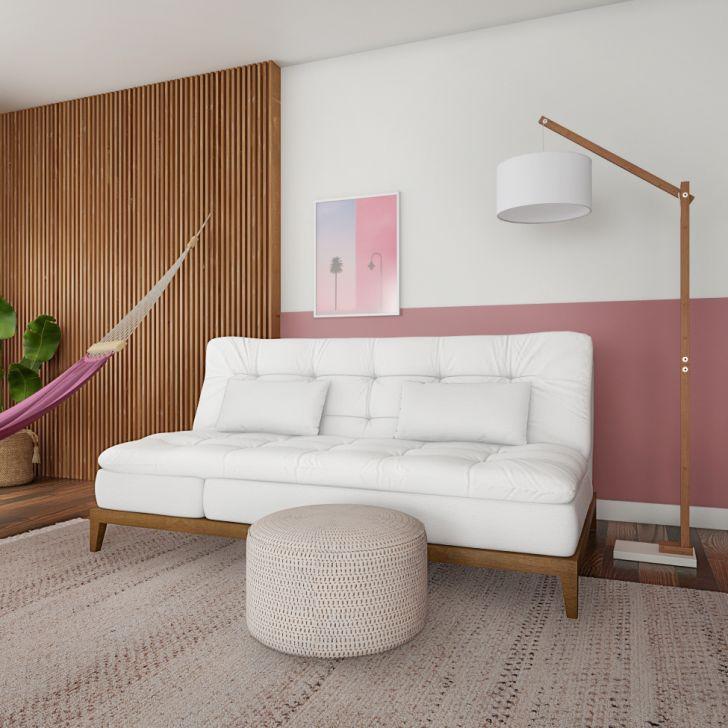 Sofá-cama 3 Lugares Casal Aaliyah Com Pés De Madeira Couro Sintético Branco
