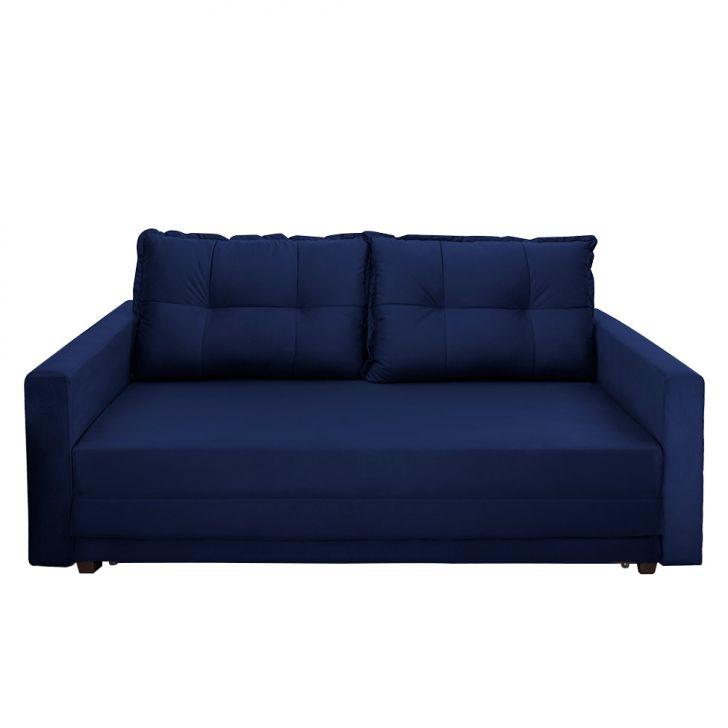 Sofá-cama Casal 3 Lugares Trancoso Suede Azul