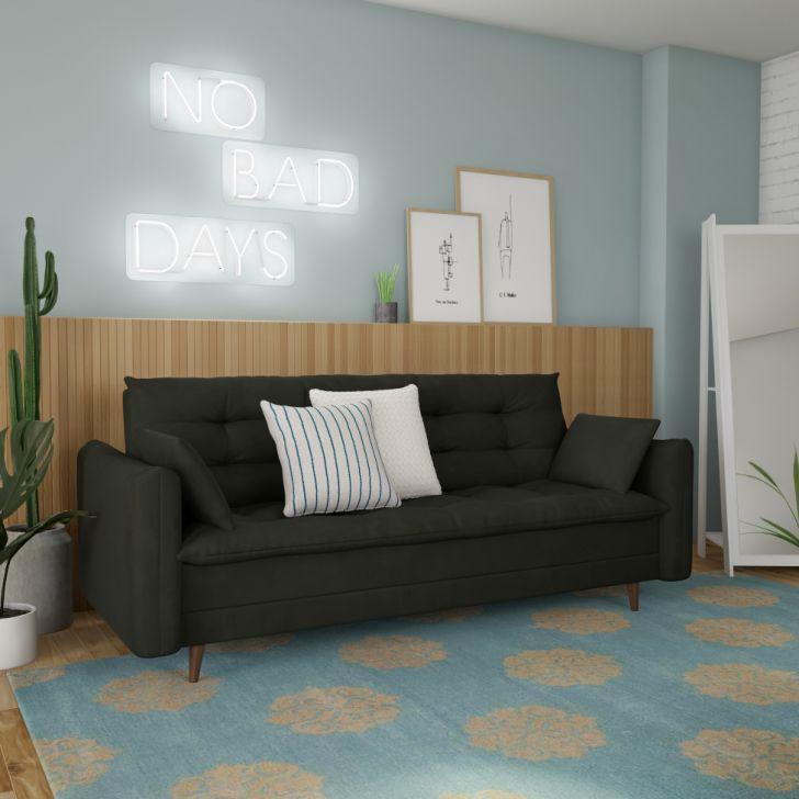 Sofá-cama Casal 3 Lugares Mirela Suede Grafite