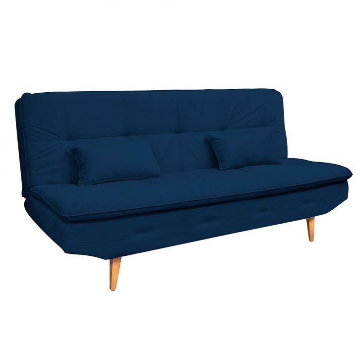 Sofá-cama 3 Lugares Antonella Veludo Light Azul