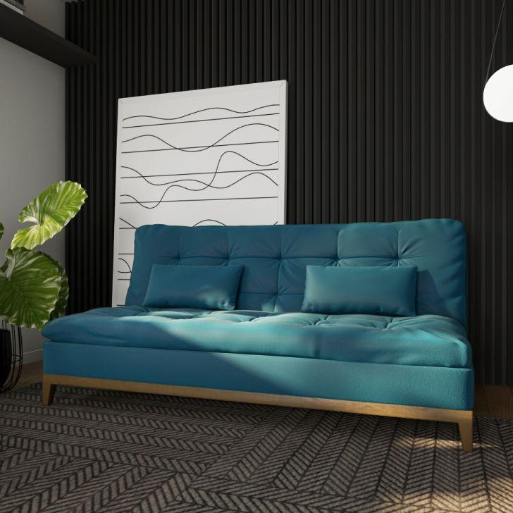Sofá-cama 3 Lugares Casal Excelencia Base E Pés De Madeira Suede Azul