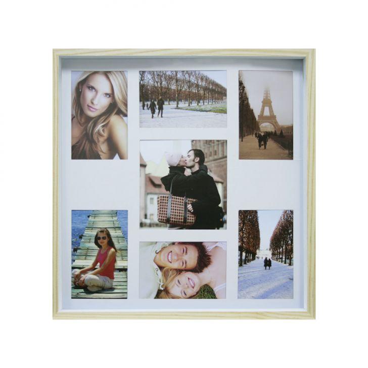 Quadro Para Fotos Wood Natural E Branco 40x40cm