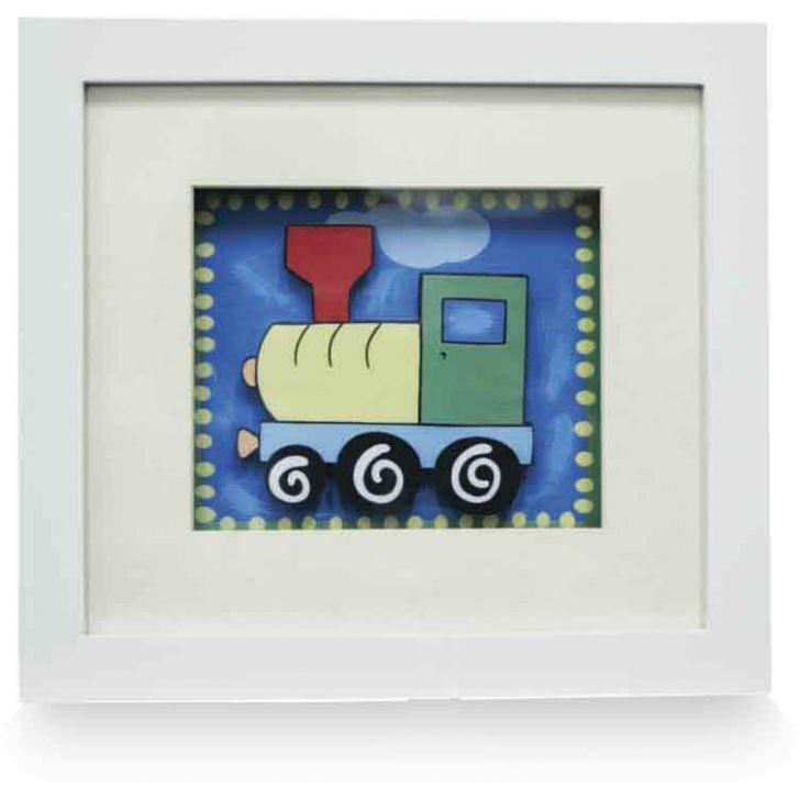Quadro Decorativo Infatil Trem 20x22  Branco