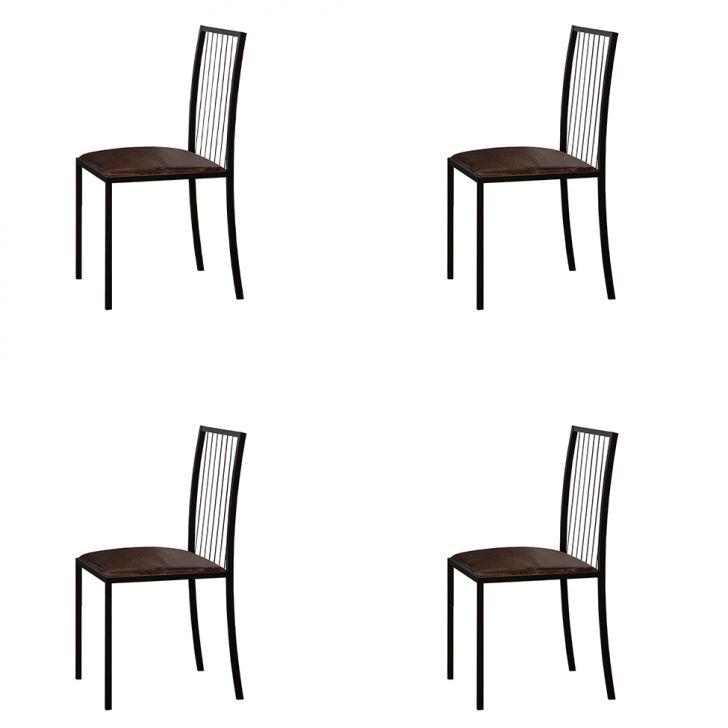 Conjunto Com 4 Cadeiras Atos Couríssimo Marrom E Preto