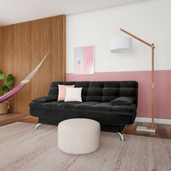 Sofá-cama Casal 3 Lugares Qualidade Suede Pés De Metal Preto