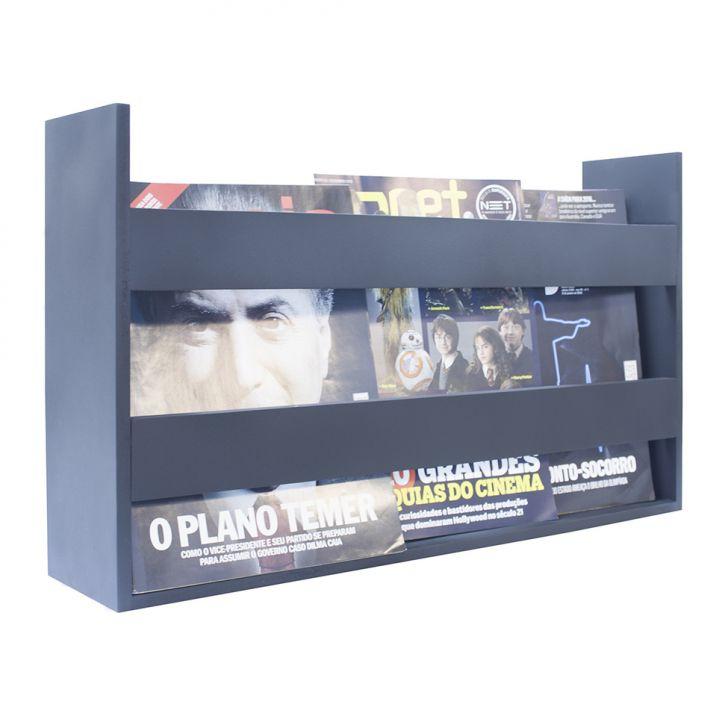 Porta Livros E Revistas de Parede 50x30x11 Azul