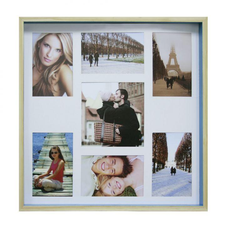 Quadro Para Fotos Wood Natural E Azul 40x40cm
