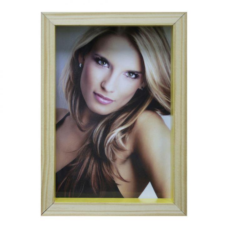 Porta-retrato Wood Natural E Amarelo 17x19cm