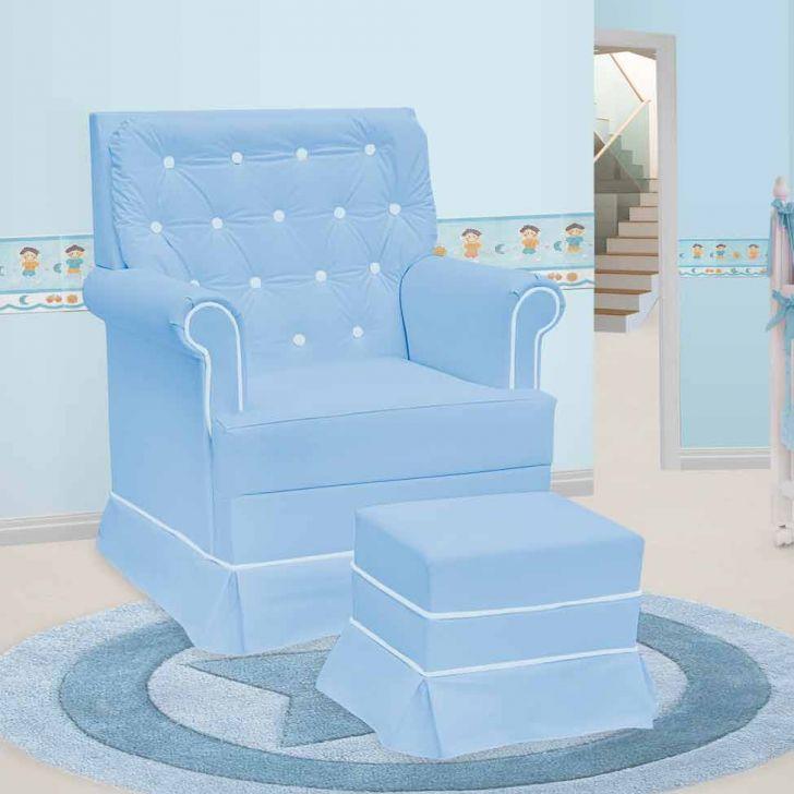 Poltrona Amamentação Giulia Fixa E Puff Corino Azul E Branco