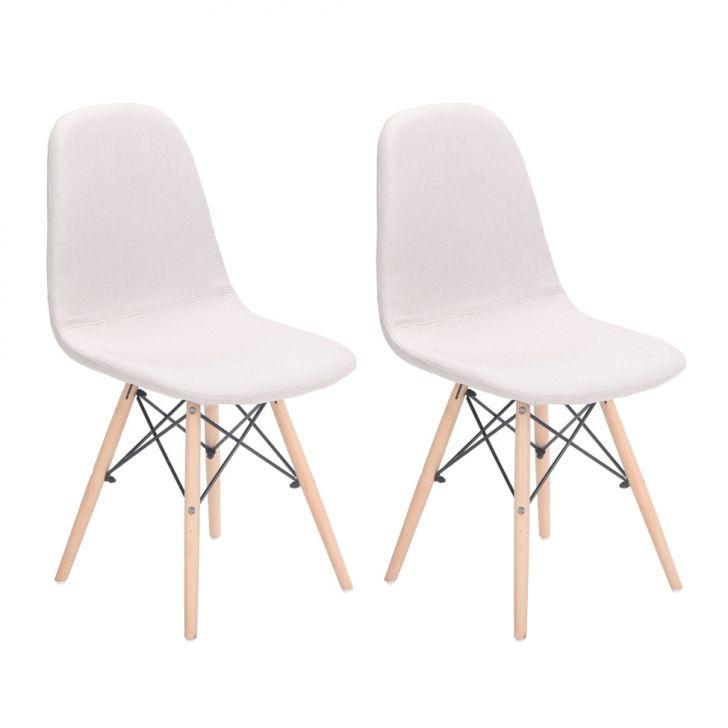Conjunto Com 2 Cadeiras Eames Eiffel Citrino Bege