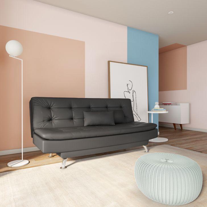 Sofá-cama 3 Lugares Casal Premium Pretty Couro Sintético Preto
