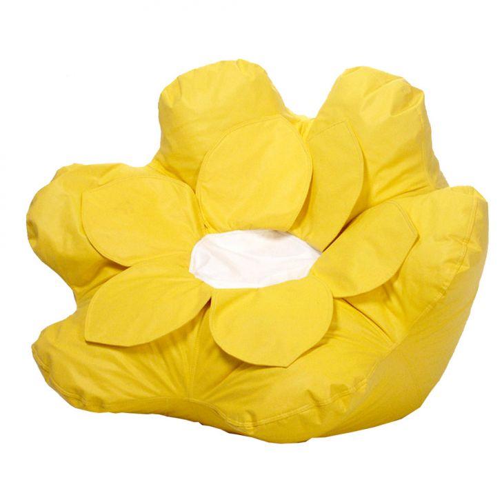 Puff Flower Corino Amarelo