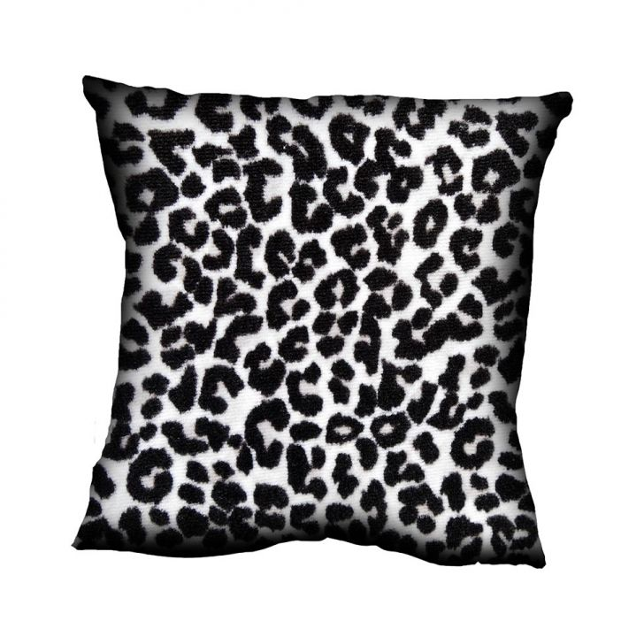 Almofada Impressão Digital Preto Animal Print Leopardo PB 42x42cm