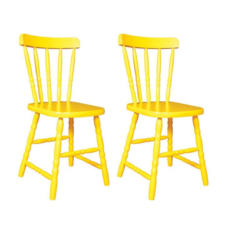 Conjunto Com 2 Cadeiras De Cozinha Dalas Amarelo