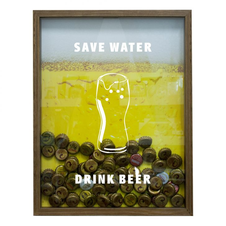 Quadro Porta Tampinhas De Cervejas Save Water Drink Beer Natural