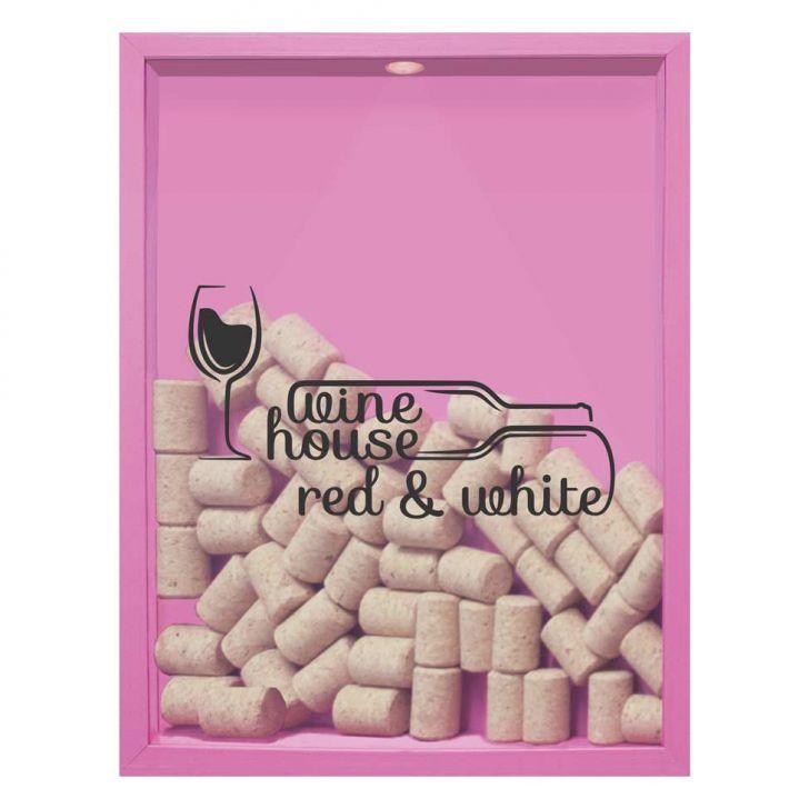 Quadro Porta Rolhas de Vinho Wine House 32x42x4cm Rosa em até 1 vezes sem juros! Devolução grátis em até 30 dias.