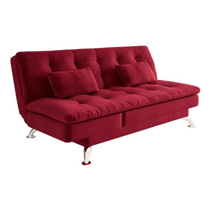 Sofá-cama Casal 3 Lugares Amanda Suede Com Almofadas Vermelho