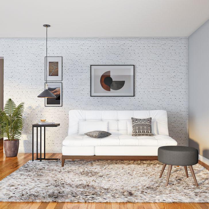 Sofá-cama 3 Lugares Casal Ayla Com Pés De Madeira Couro Sintético Branco