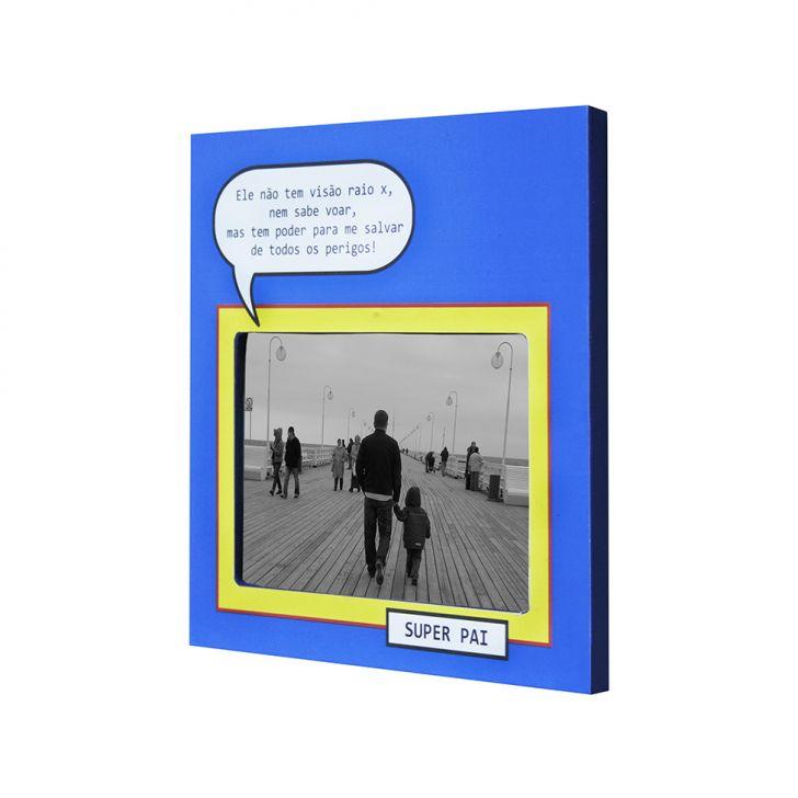 Porta-retrato Super Pai Azul 20x20cm