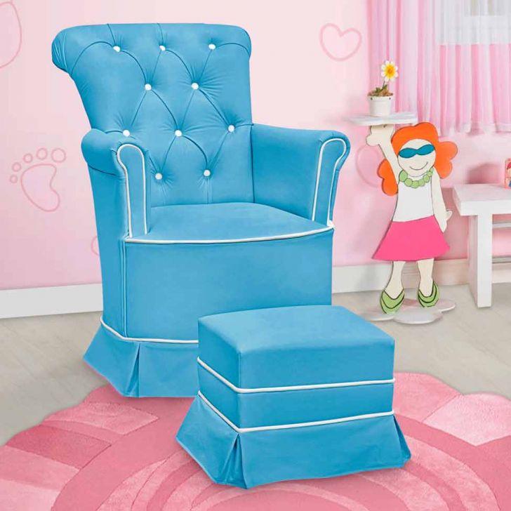 Poltrona Amamentação Paola Com Balanço E Puff Azul E Branco