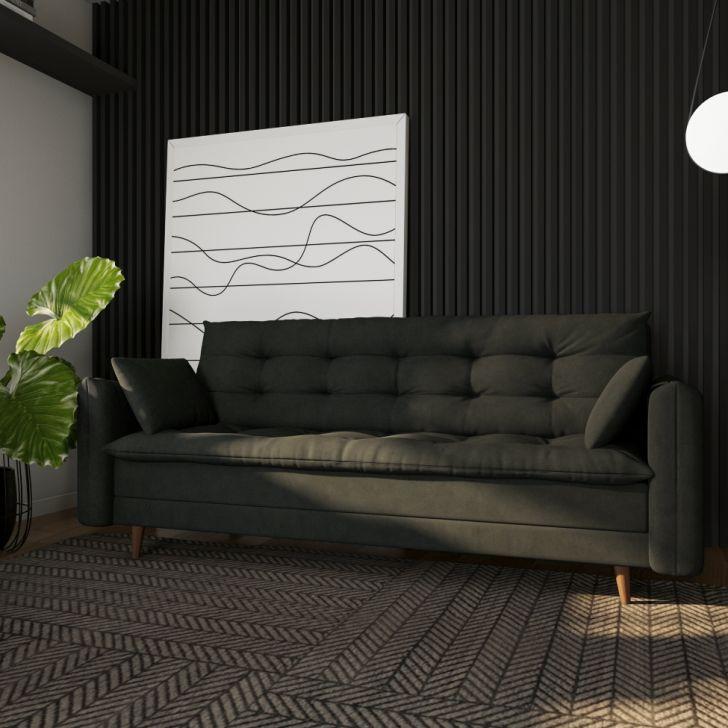 Sofá-cama Casal 3 Lugares Mônica Suede Grafite