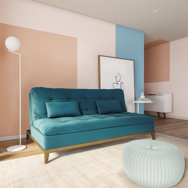 Sofá-cama 3 Lugares Casal Estilo Base E Pés De Madeira Suede Azul