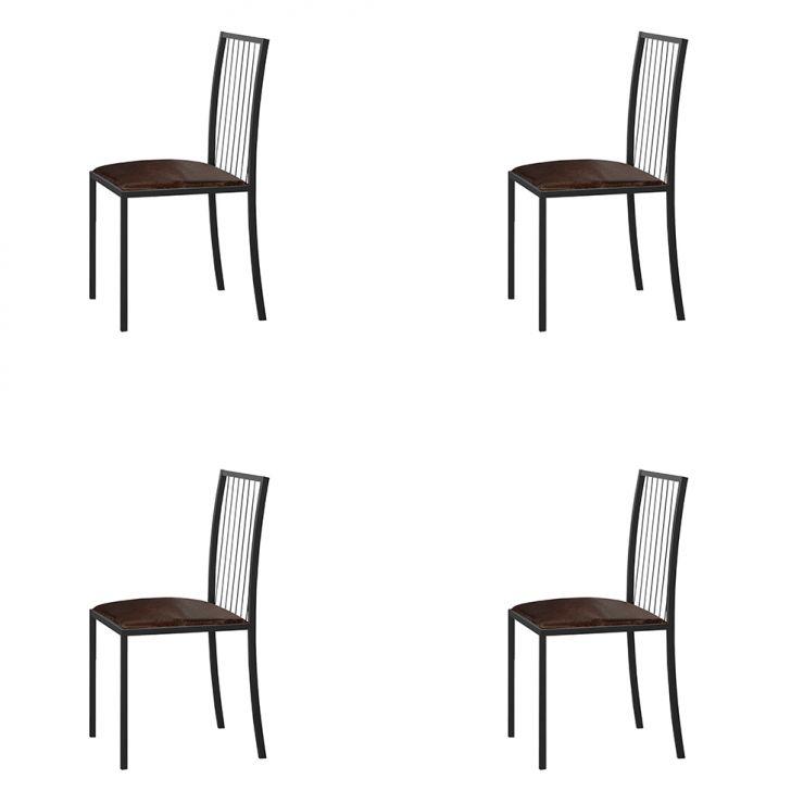 Conjunto Com 4 Cadeiras Atos Couríssimo Marrom E Grafite