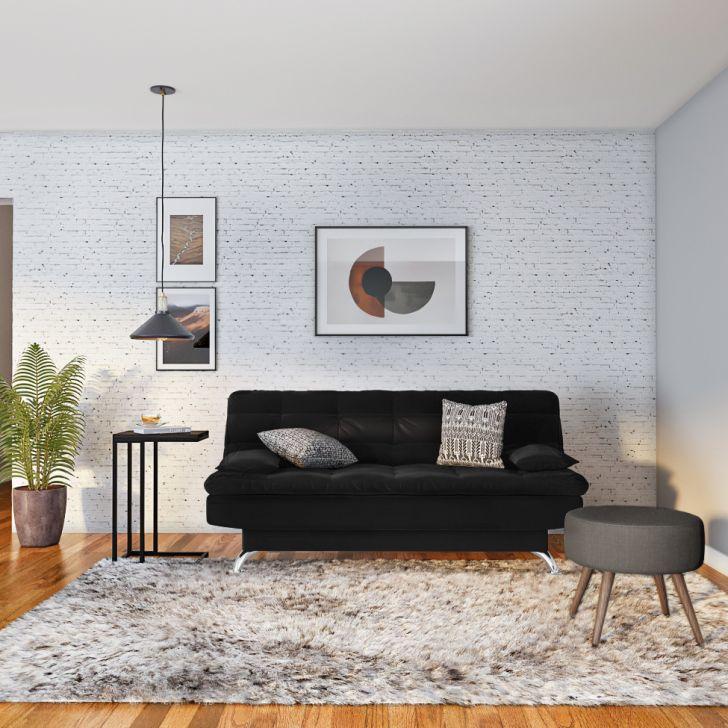 Sofá-cama Casal 3 Lugares Raridade Suede Pés De Metal Preto