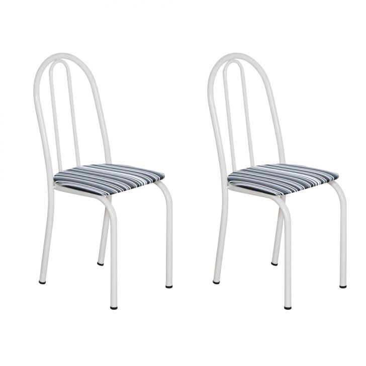Conjunto 2 Cadeiras Éos Branco E Preto Listrado