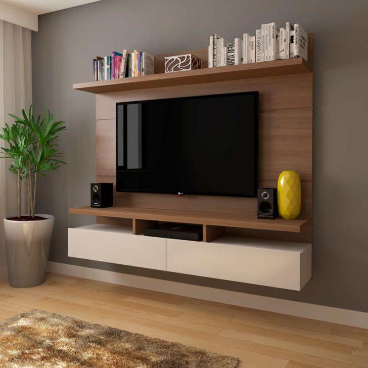 Painel Para Tv 50 Polegadas Zeus Natural E Off White 184 Cm